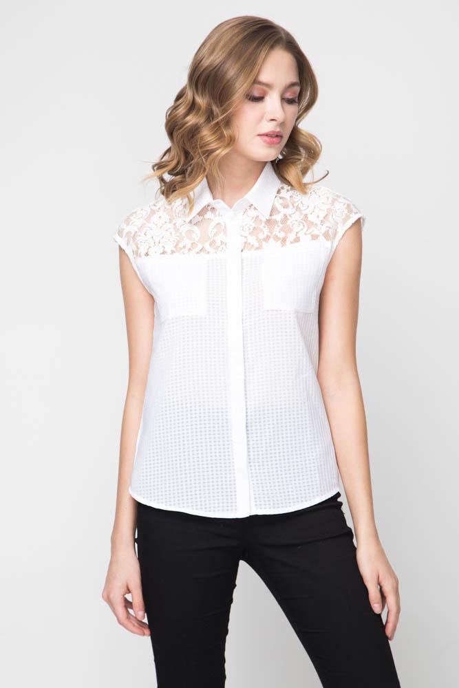 f56f2a894b4 Белая блузка с кружевными вставками на плечах Marimay арт. 7488 ...