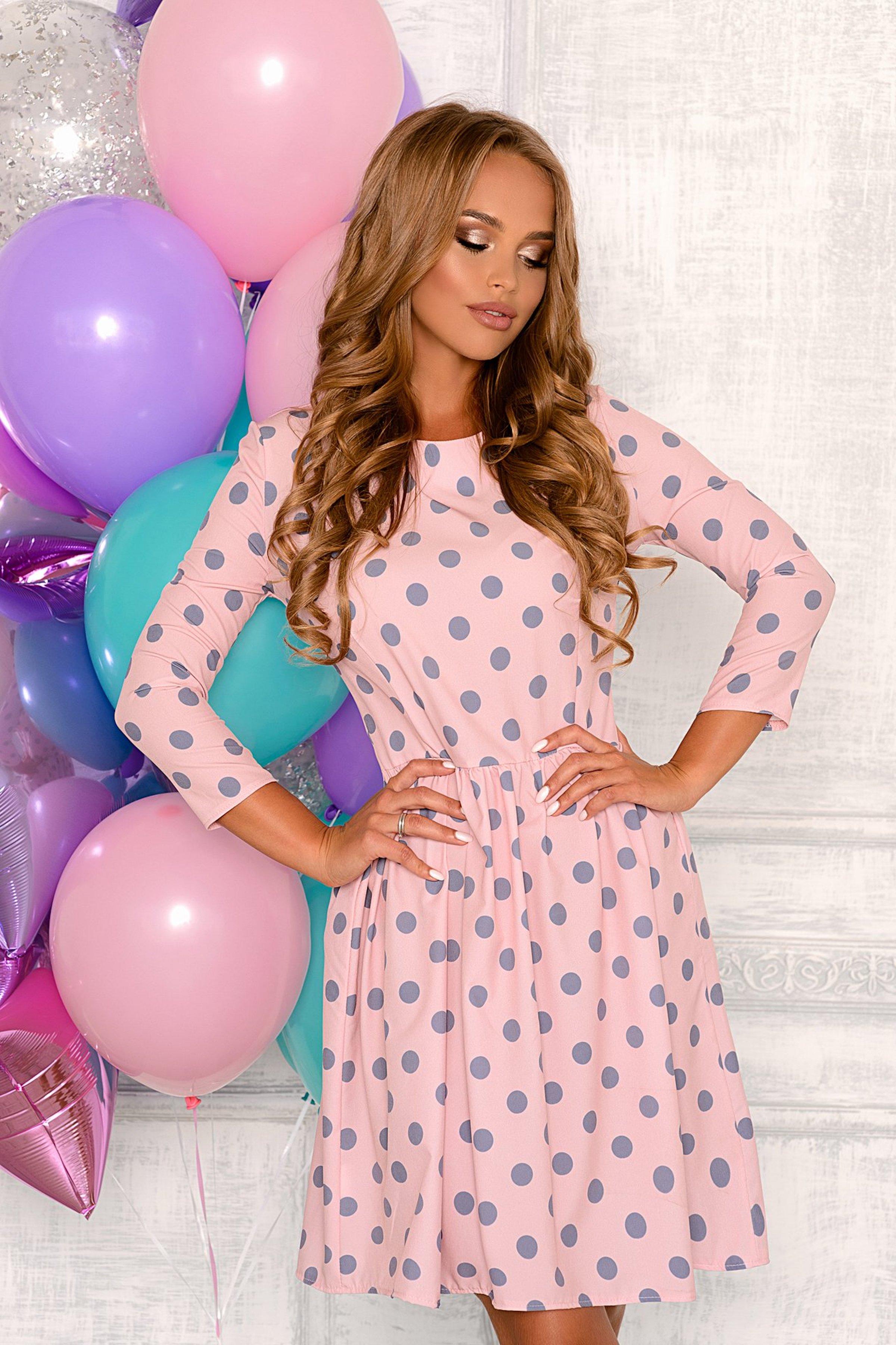 d88fe209adc Розовое платье в горошек Open-Style арт. 8002 купить в интернет-магазине  KOKETTE