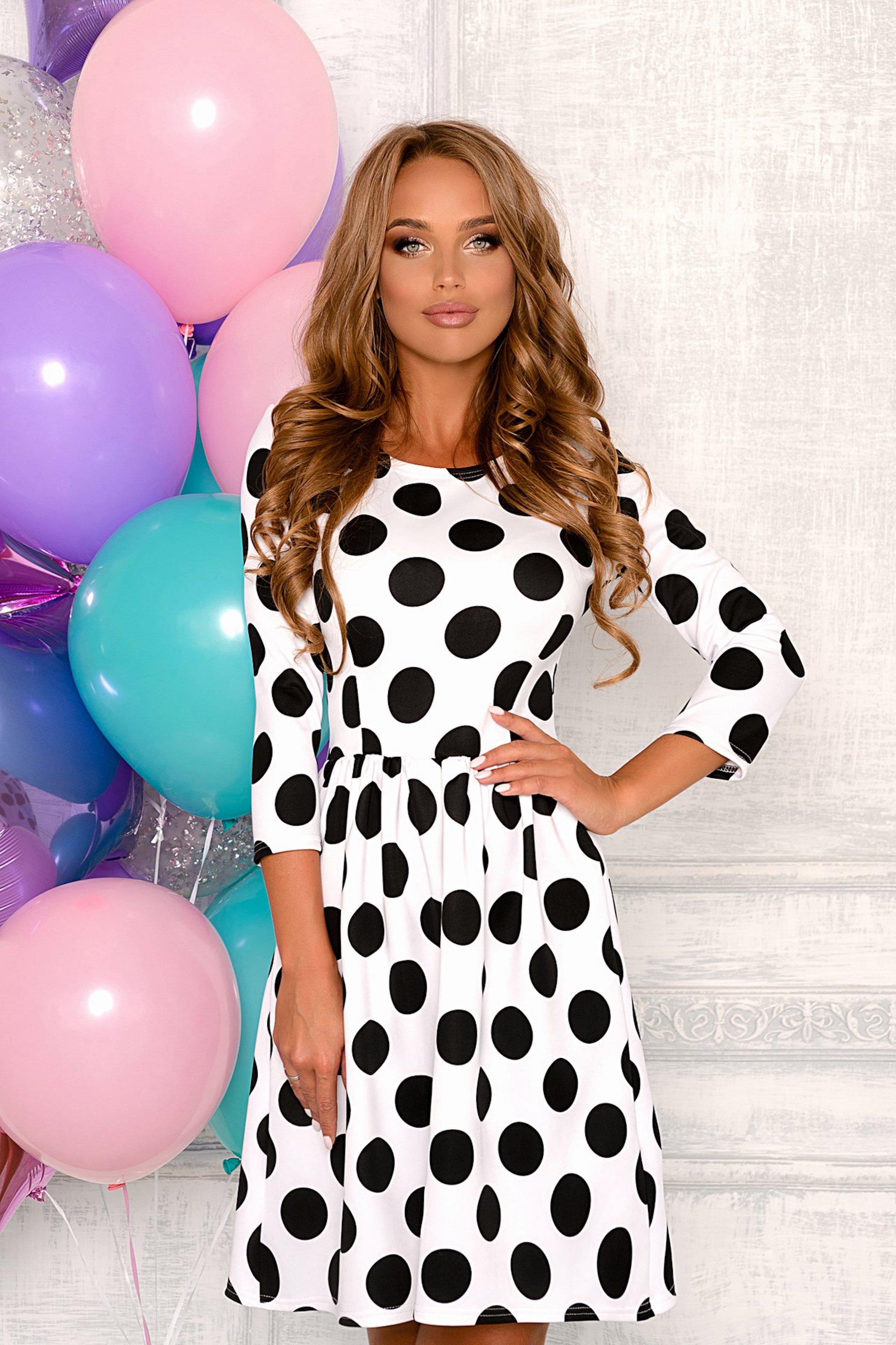 26a01c93a9b Белое платье в черный горошек Open-Style арт. 8003 купить в интернет- магазине KOKETTE