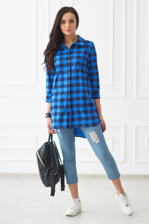 43a09b7687c Женская синяя рубашка в клетку Шарлиз арт. 8006 купить в интернет-магазине  KOKETTE