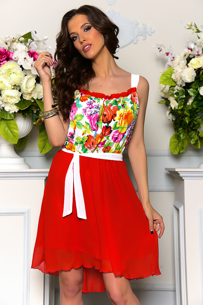 Купить Платье Красное С Цветами